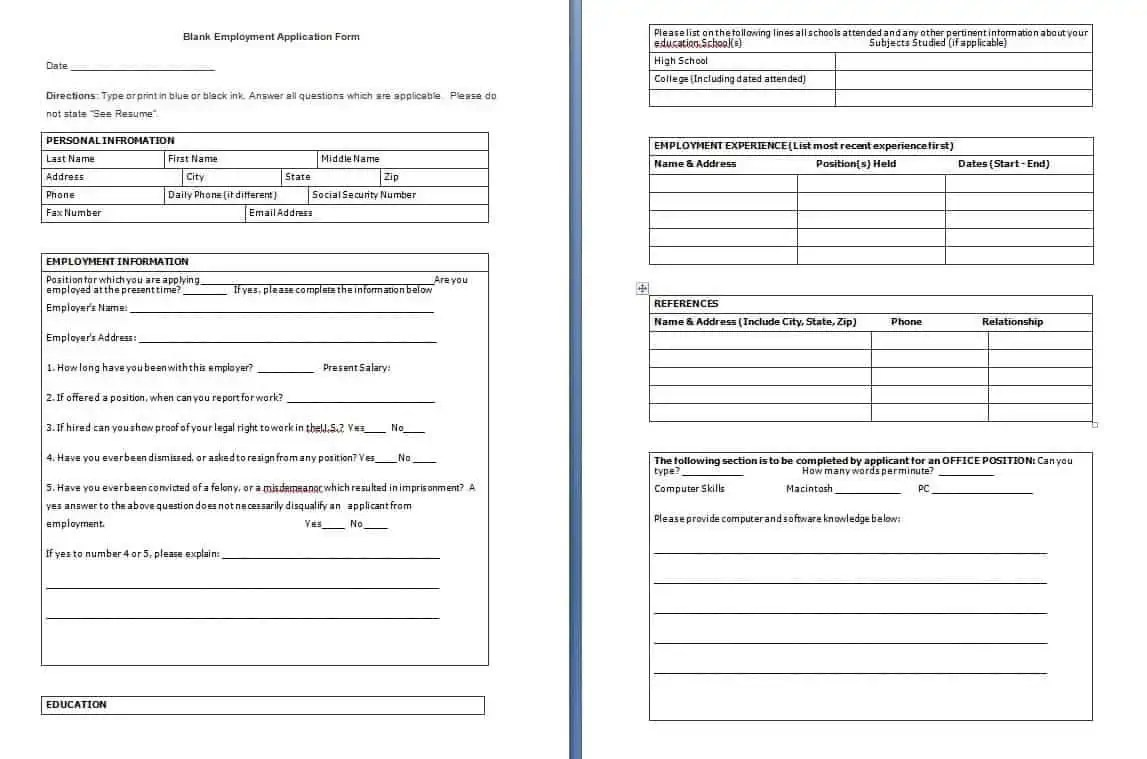 free downloadable employment application forms