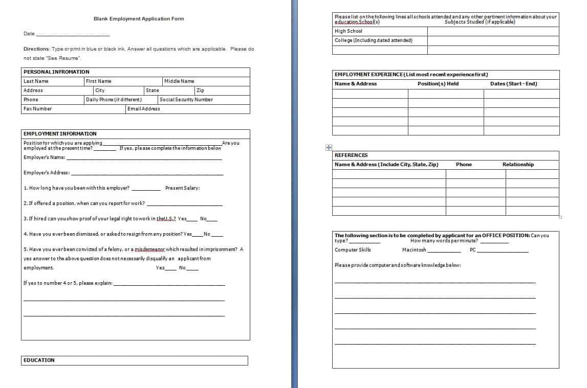 blank-employment-application-form-template Job Application Form Template Excel Pdqb on