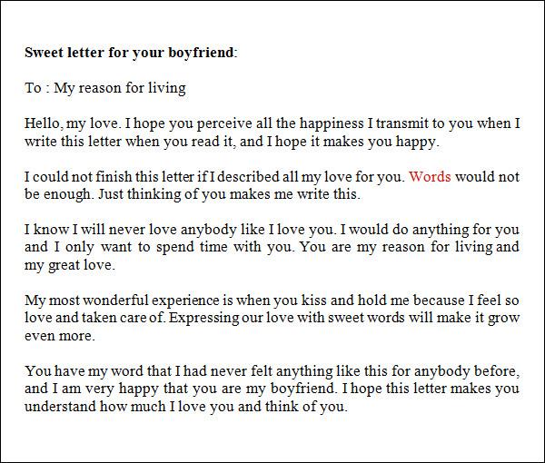 Love Letters to Boyfriend – SampleLoveLetter