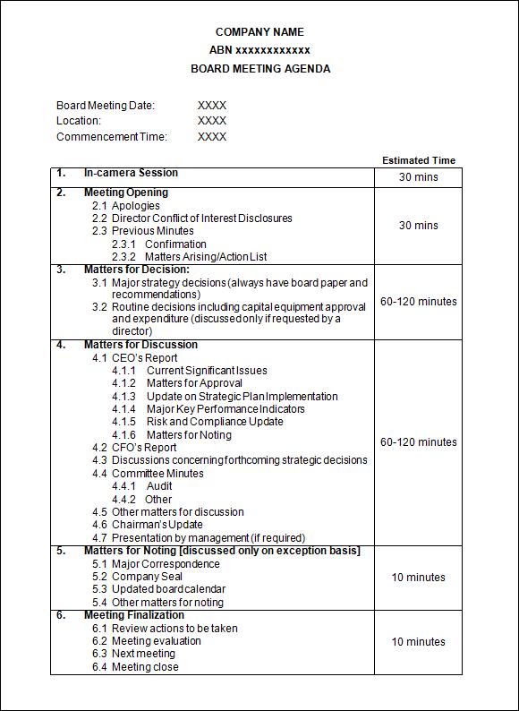 agenda of the meeting sample