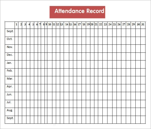 free attendance record template