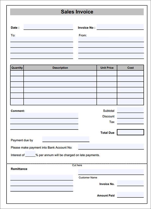 sample sales invoice template