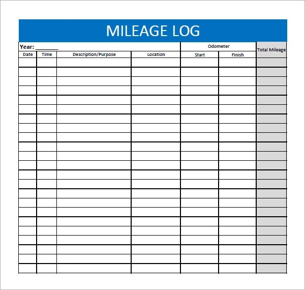 printable mileage log template