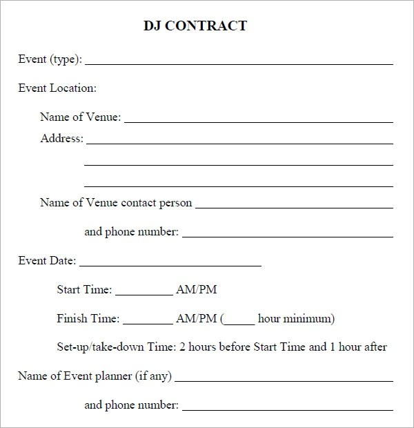 dj contract template pdf