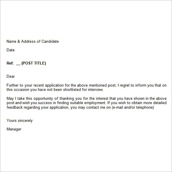 Response To Job Rejection Letter Sample Free Sample Response Letters Free Sample  Letter Templates Employment Rejection