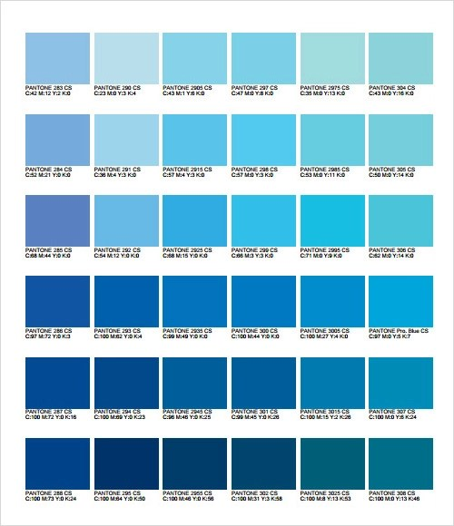 General Color Chart Template Sample General Color Chart Documents