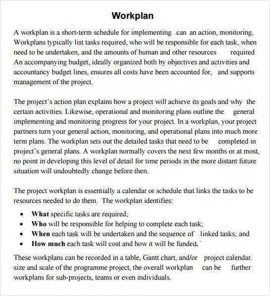 free sample work plan template