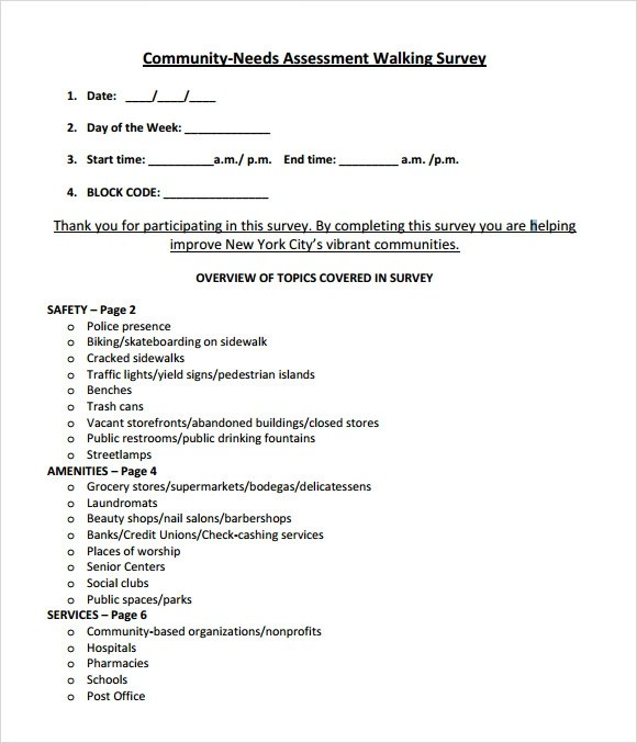 sample community needs assessment template