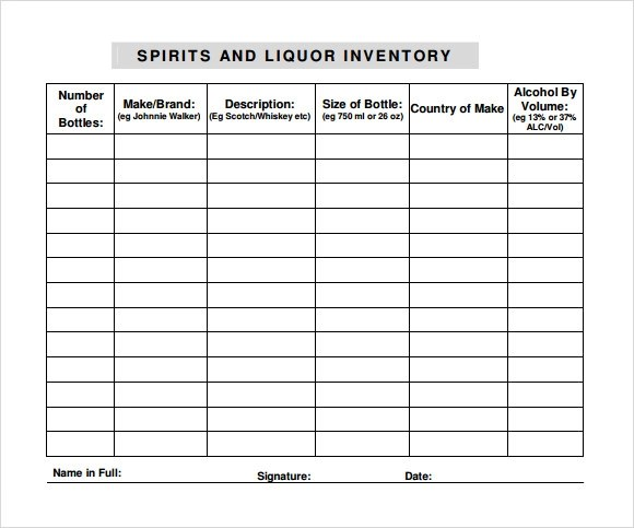 liquor inventory sheet template