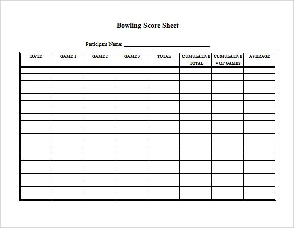 bowling score sheet template excel