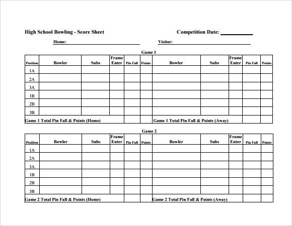 bowling score sheet template excel
