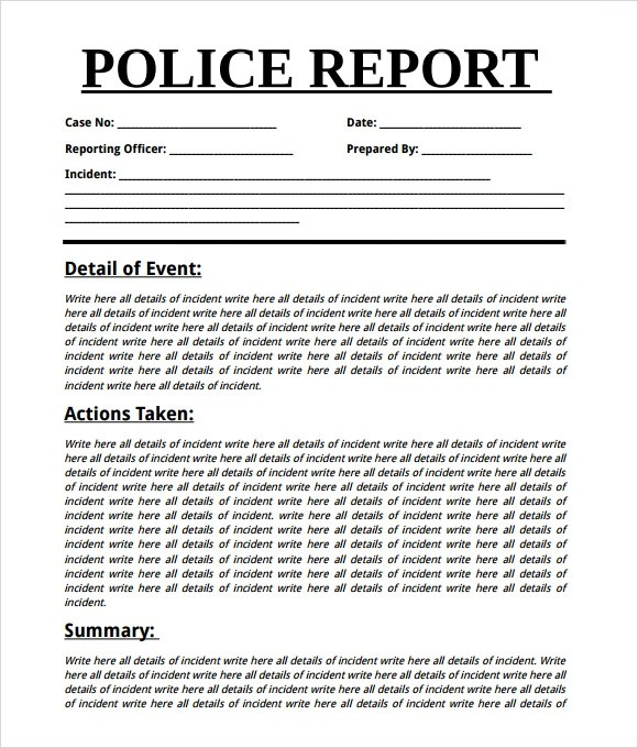 police report template word