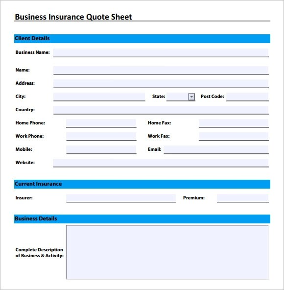 business quote sheet template