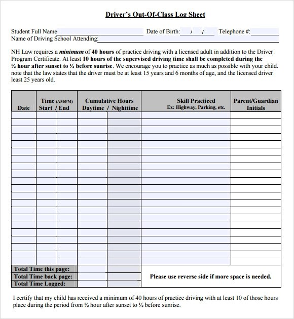 printable fax log template