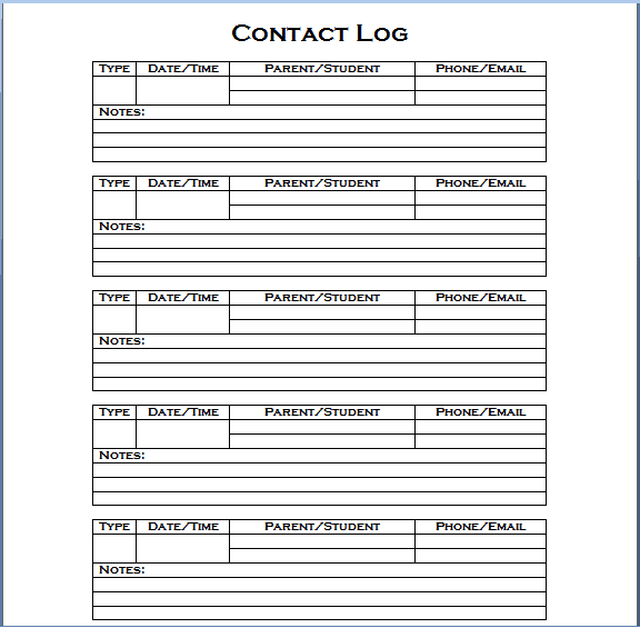 Contact Log Template Is Added Here