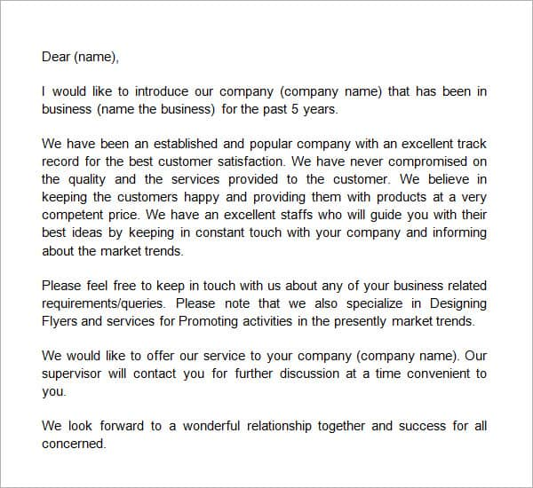 Company Introduction Letter Templates  Free Sample Templates