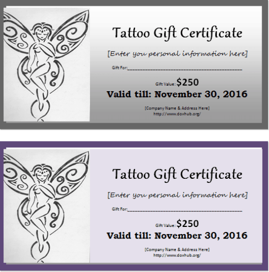 tattoo gift certificate template 555