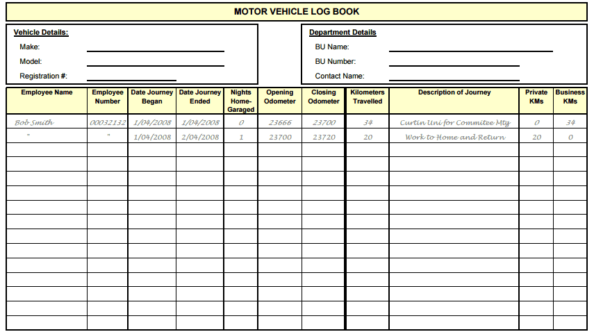 5 Vehicle Log Book Templates | Free Sample Templates