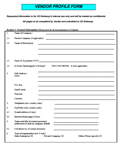 Vendor Profile Form Template  Profile Templates