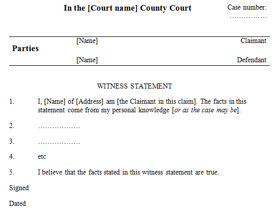 6 Witness Statement Templates Free Sample Templates