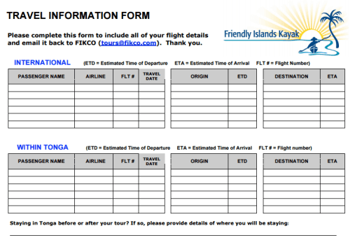 travel information form template 222