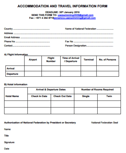 travel information form template 444