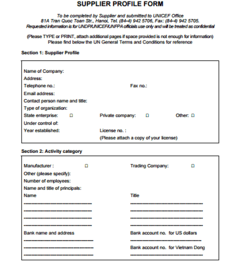 vendor profile form template 111
