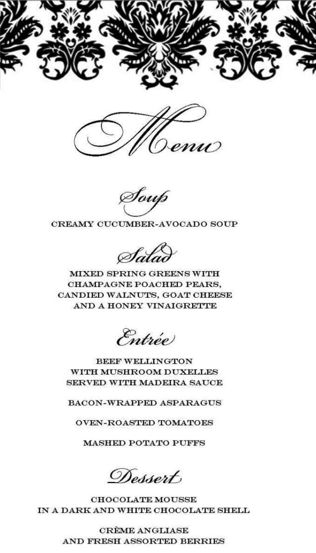 sample diner menu