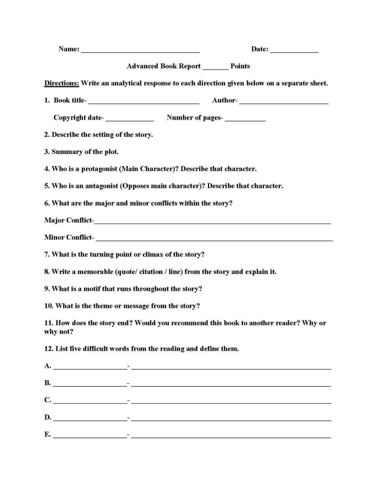Grade 3 Book Report Template