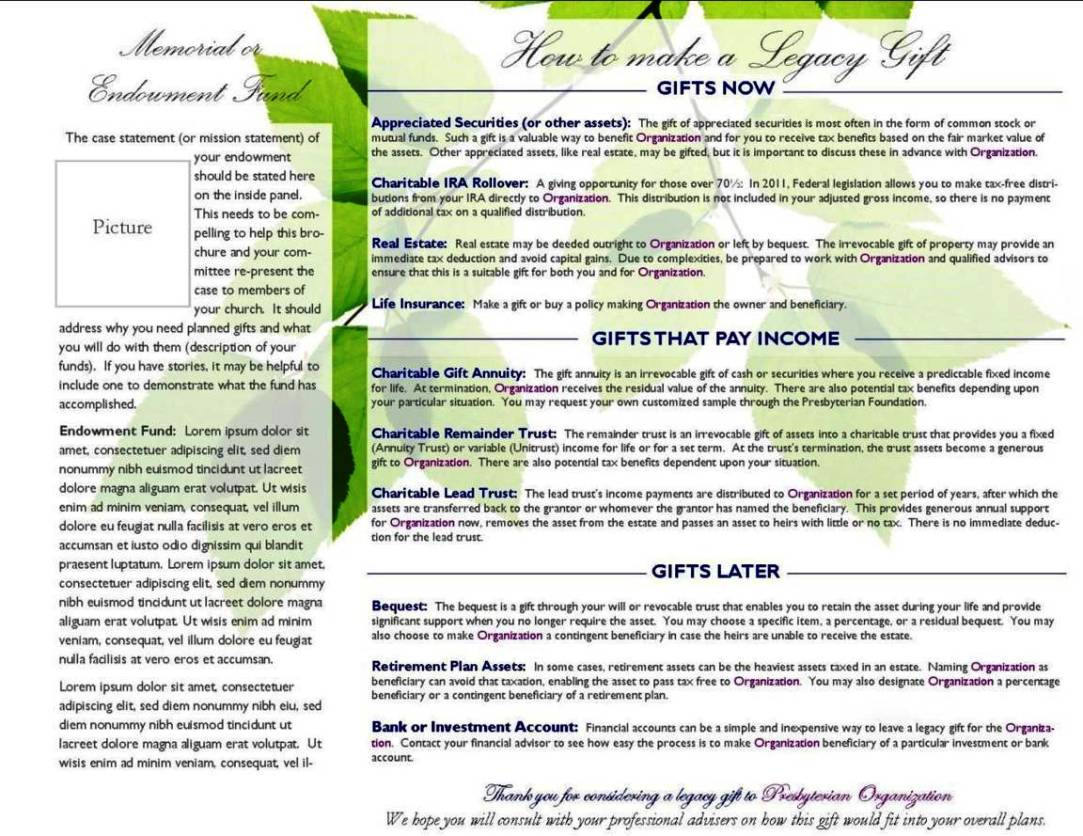 Planned Giving Brochures Templates SampleTemplatess