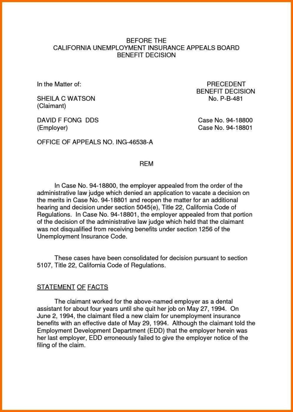 Denial Letter From Unemployment Template - Unemployed Letter