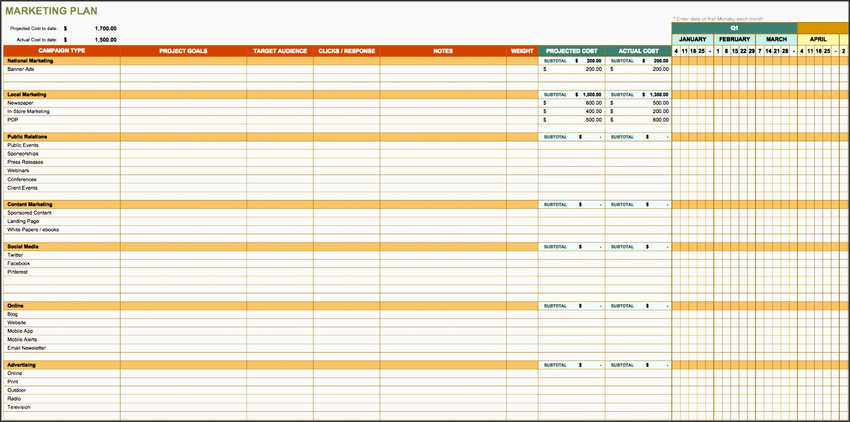 4 Action Plan Template Excel