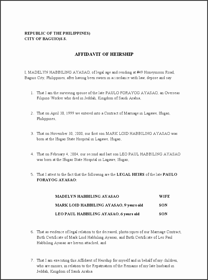 6 Affidavit Form Templates SampleTemplatess SampleTemplatess