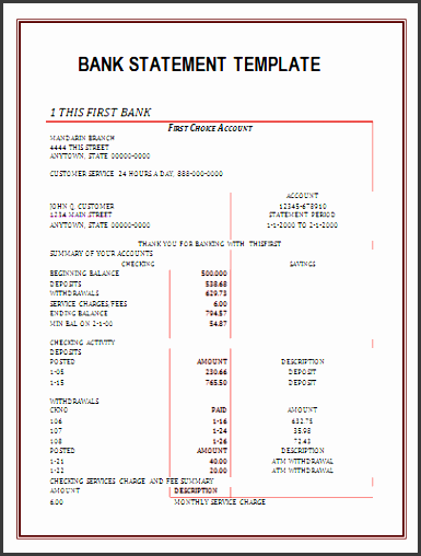 10 Bank Statement Draft SampleTemplatess SampleTemplatess