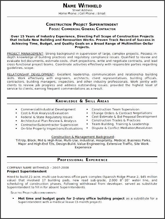 resume sample of construction managment
