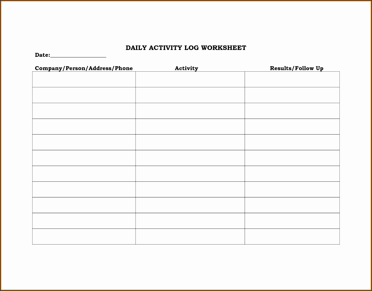 8 Daily Activity Log Template For Companies