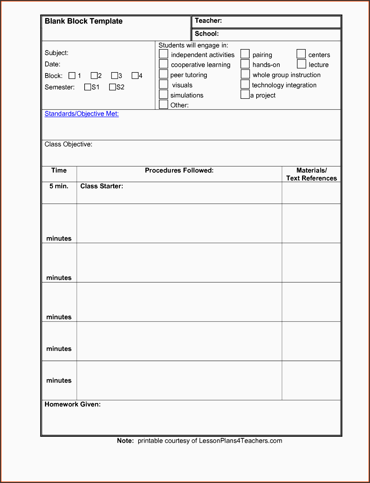 4 Daily Lesson Planner Template