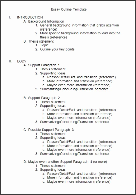 9 Essay Outline Template SampleTemplatess SampleTemplatess