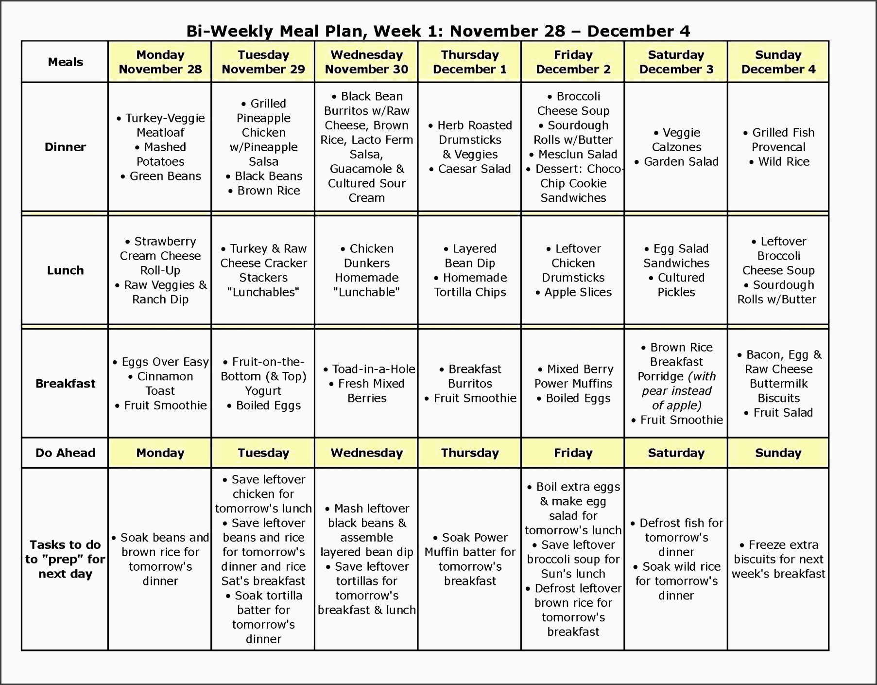 5 Free Monthly Meal Planner Template