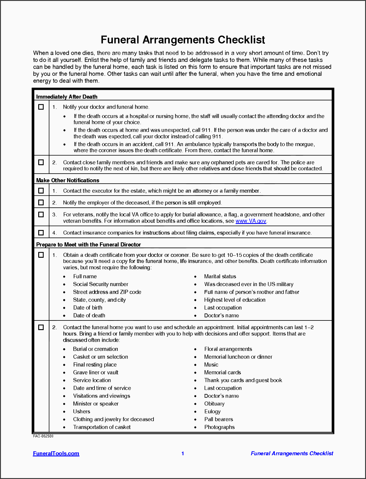 11 Funeral Planning Checklist Template In Excel