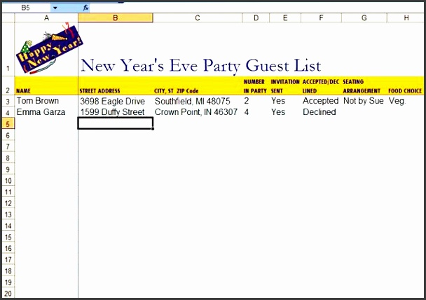 5 Graduation Party Guest List Template SampleTemplatess