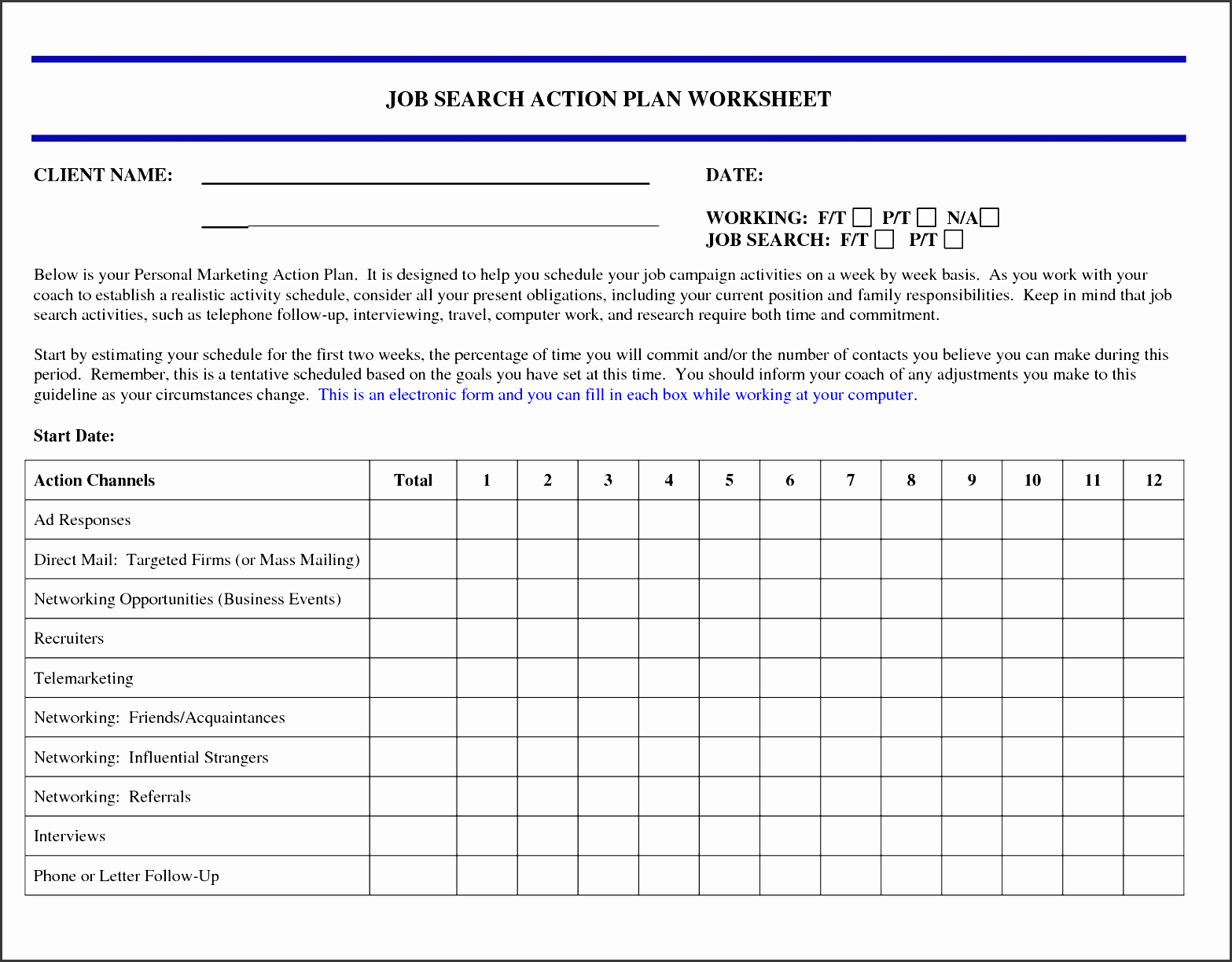 5 Job Action Plan Template