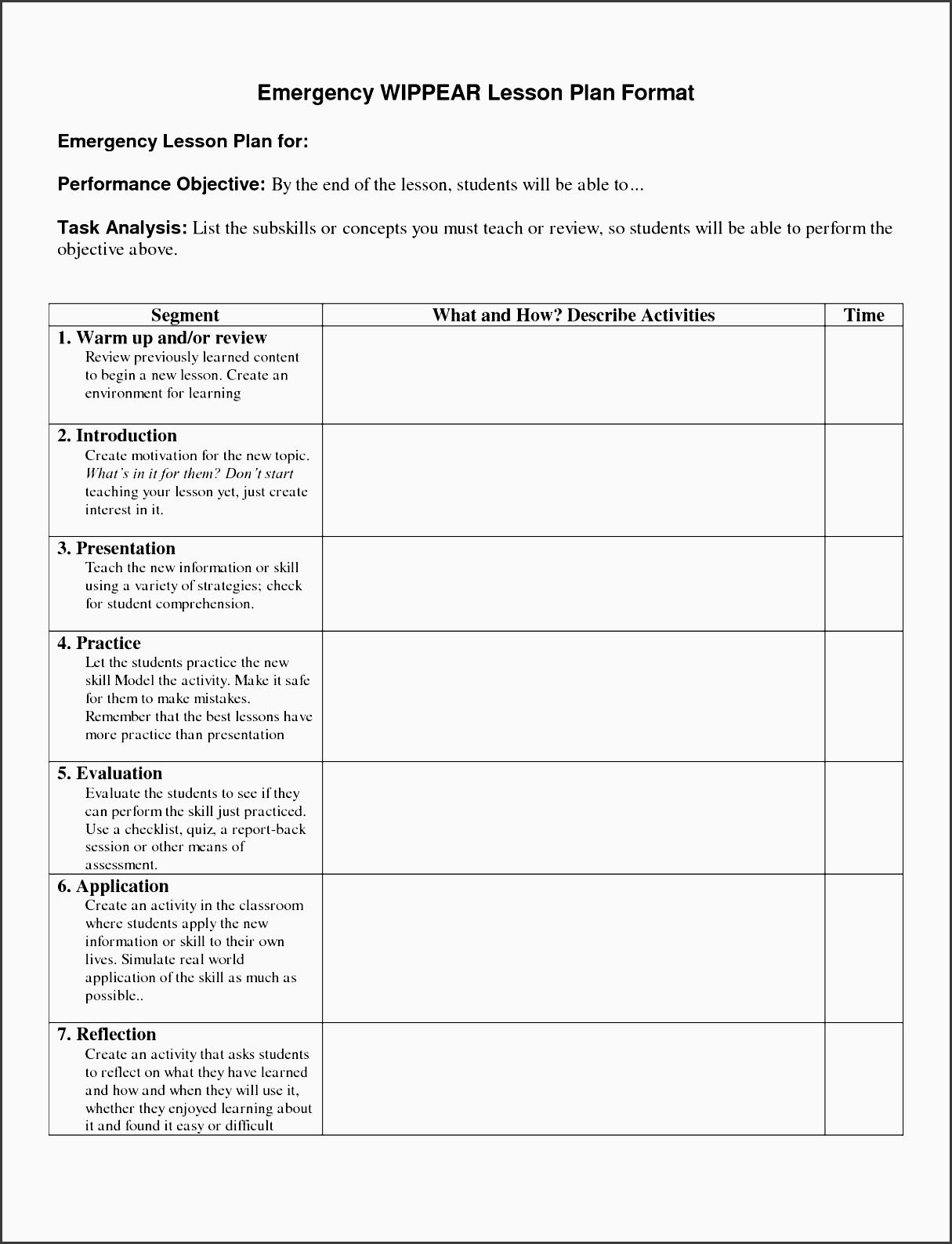 9 Lesson Plan Checklist Template