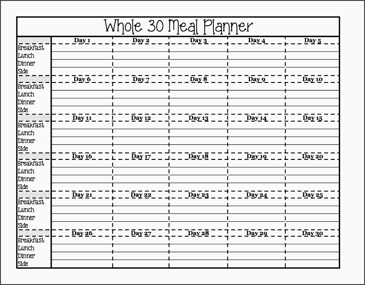 8 Monthly Meal Planner Template