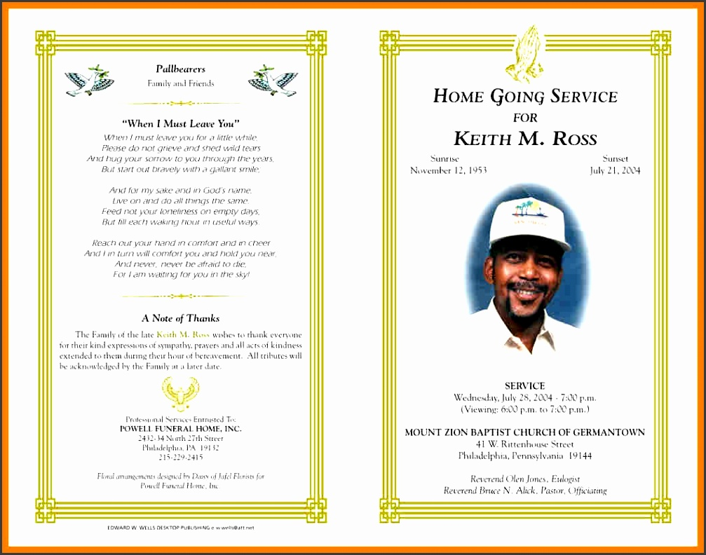obituary templates for microsoft word