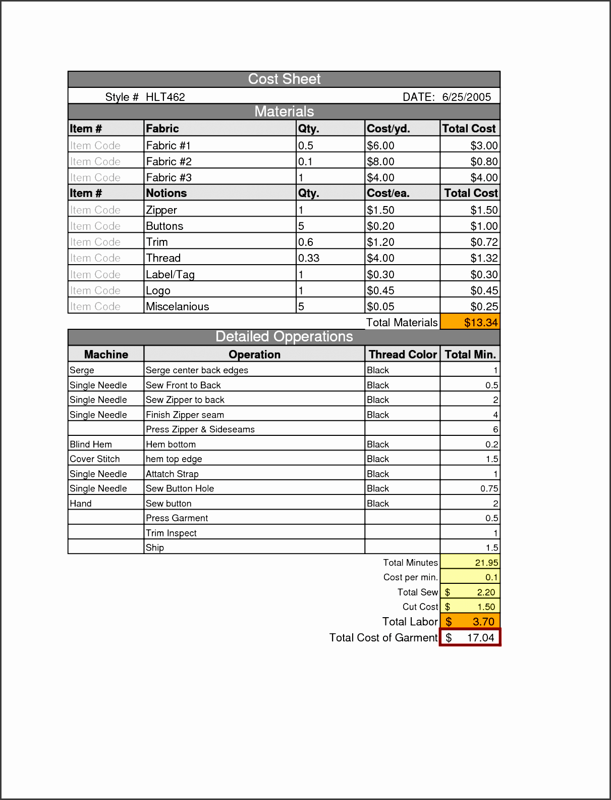 Prices Worksheet Tab Excel