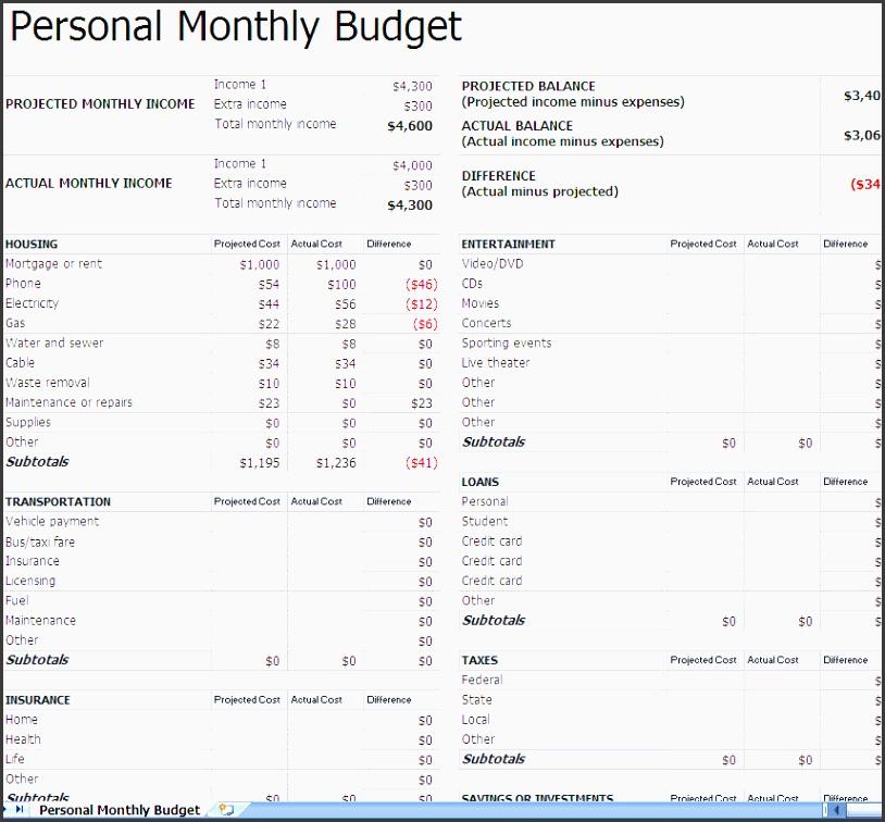Sample Monthly Budget Worksheet Printable