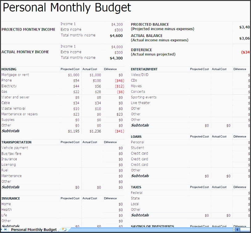 template budget planner