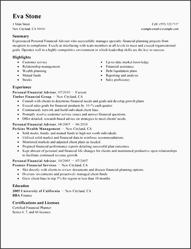 free sample resume for financial advisor