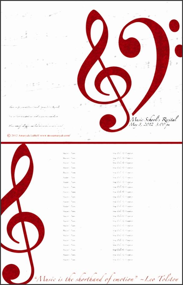 music recital program templates free
